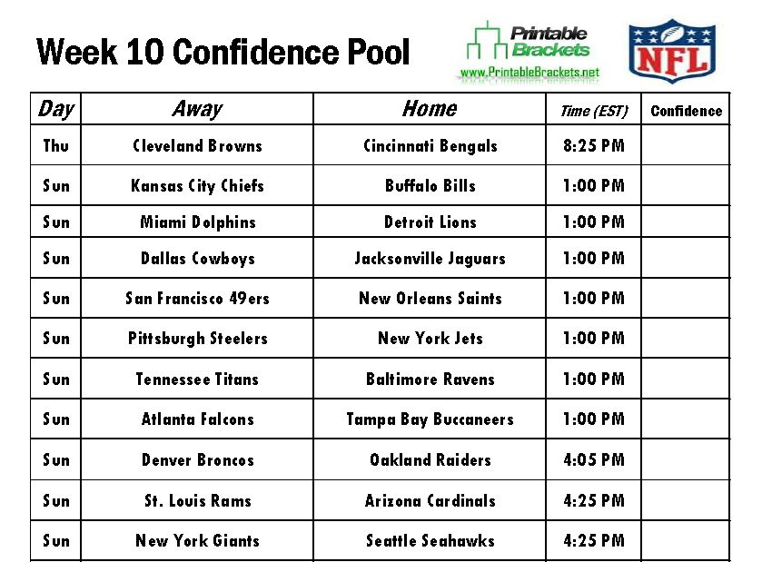 NFL Confidence Pool Week 10 sheet