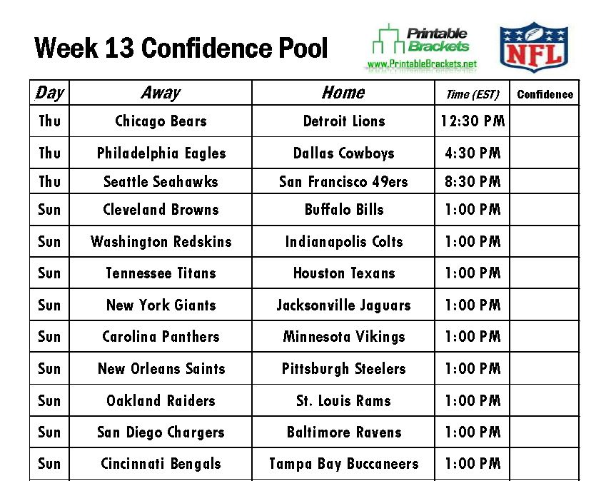 NFL Confidence Pool Week 13 sheet