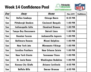 NFL Confidence Pool Week 14