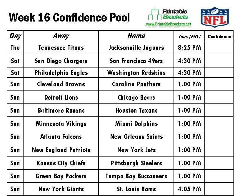 NFL Confidence Pool Week 16 sheet