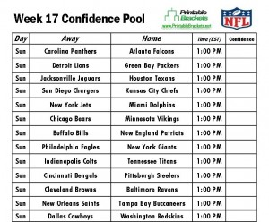 NFL Confidence Pool Week 17 sheet