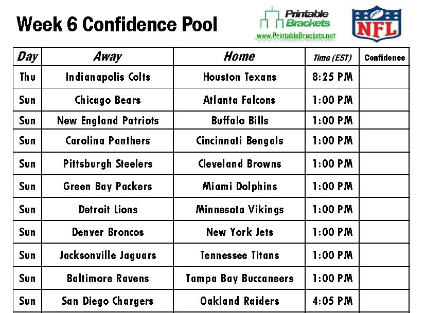 NFL Confidence Pool Week 6 sheet