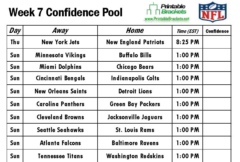 Printable Nfl Pick Em Football Pool Sheet Template Week 7 | Apps ...