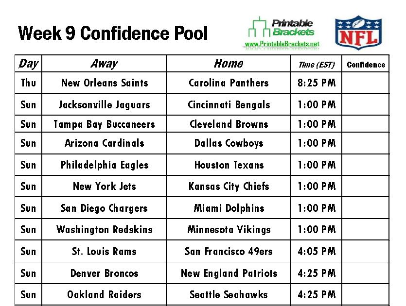 nfl confidence pool week 9