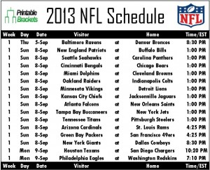 Printable 2013 NFL Schedule