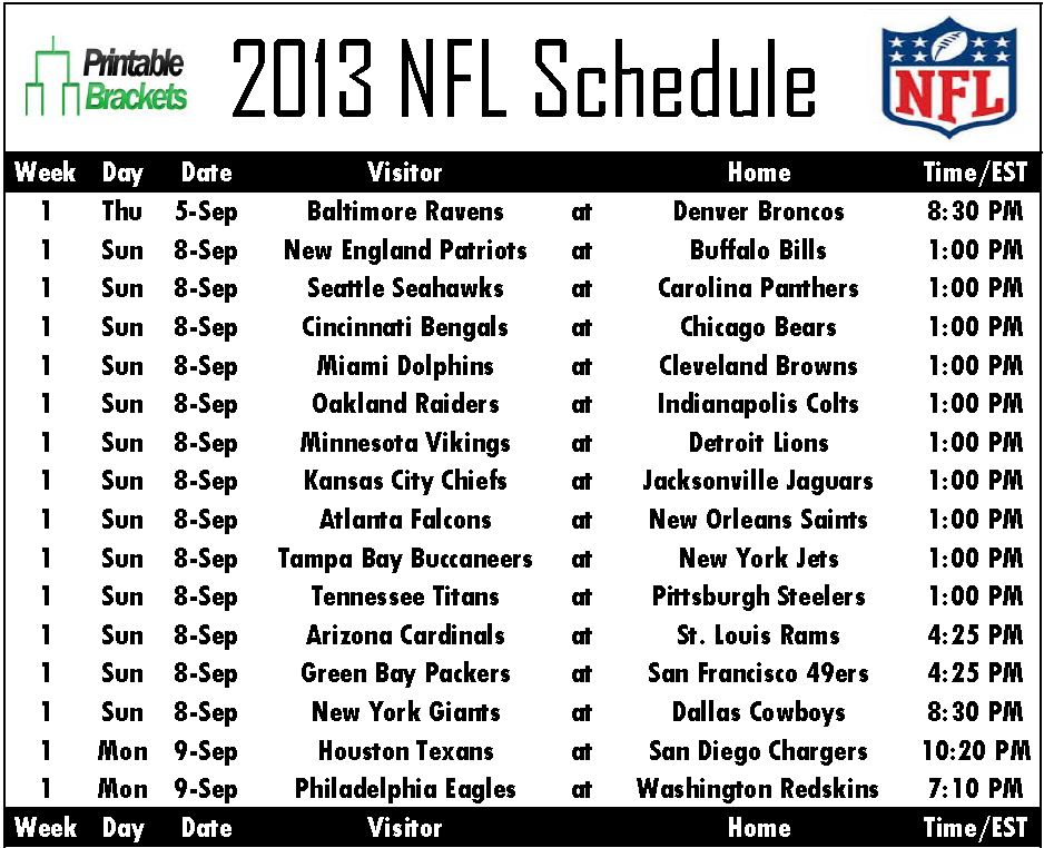 graphic about Printable Nfl Schedules named 2013 NFL Plan NFL Plan 2013 Printable NFL Timetable