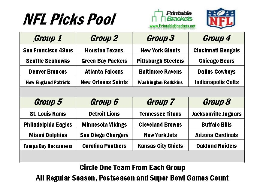 2013 NFL Picks | NFL Picks Pool | Make NFL Picks » Printable Brackets