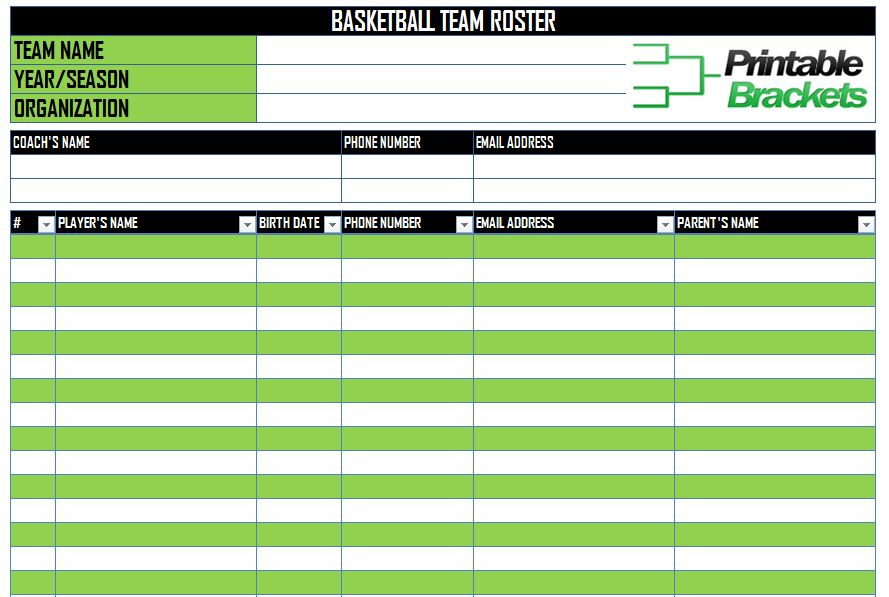 picture relating to Fantasy Football Roster Sheets Printable named Basketball Roster Template Basketball Staff Roster Template