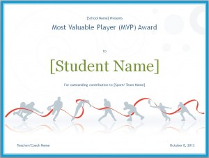 Screenshot of the MVP certificate