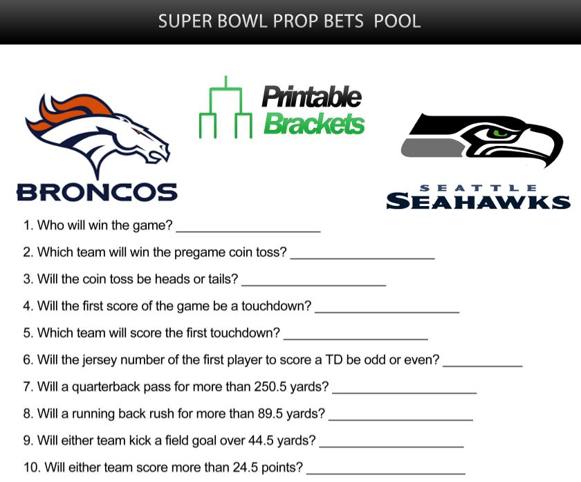 photo regarding Printable Super Bowl Prop Bets called Tremendous Bowl Prop Bets Tremendous Bowl Prop Bets Pool