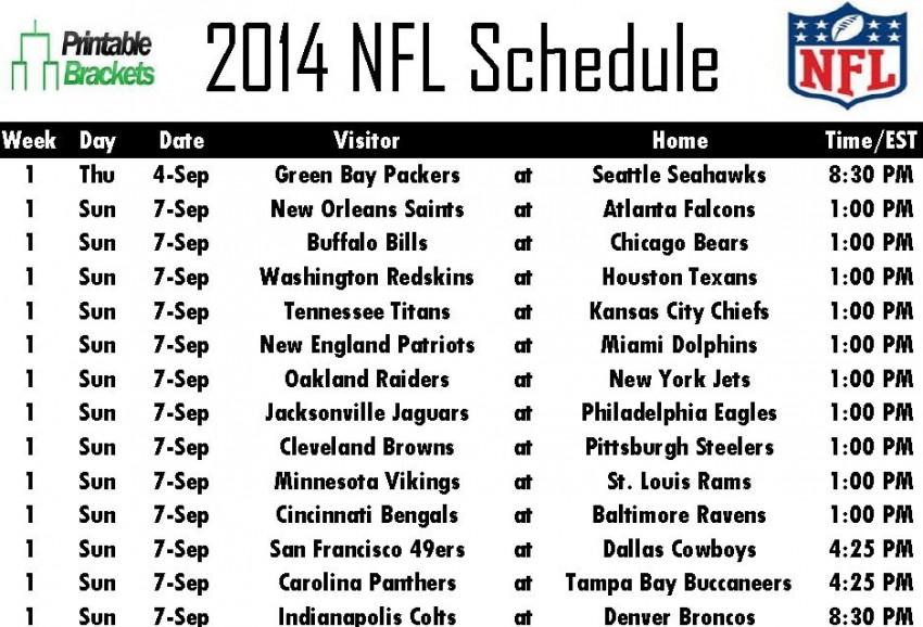 2014 NFL Schedule