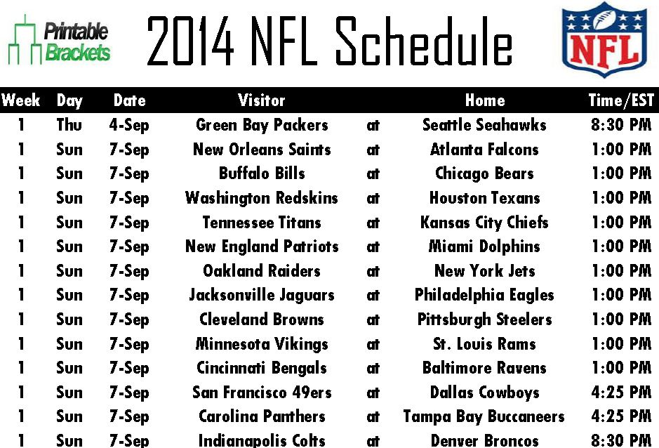 Printable 2014 NFL Schedule