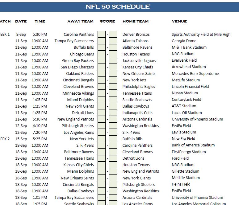 NFL 50 Schedule Template