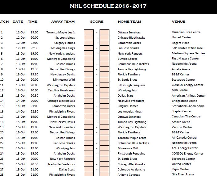 NHL Schedule 2016-17 Template