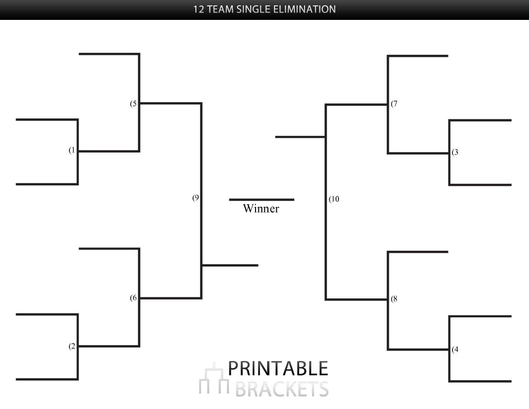 12 Team Single Elimination Bracket   Printable Brackets