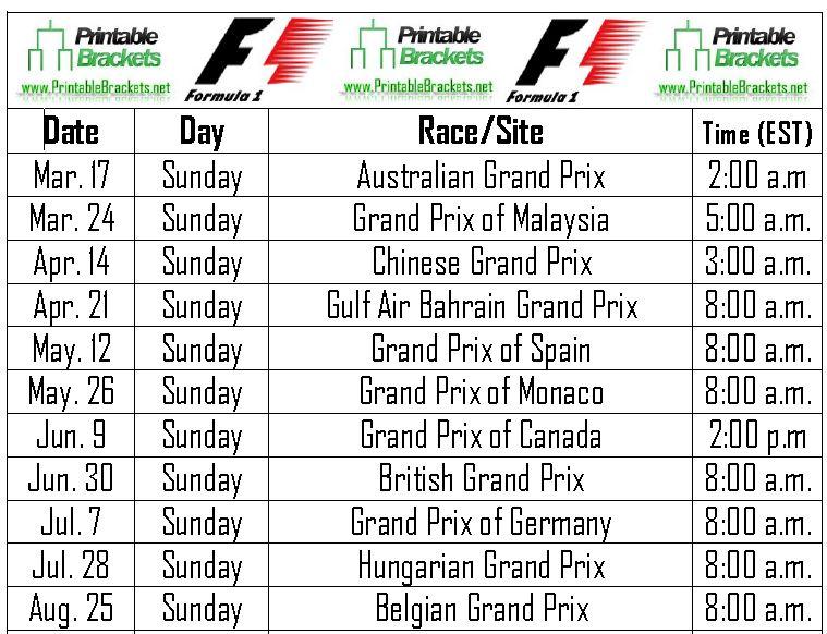 f1 schedule