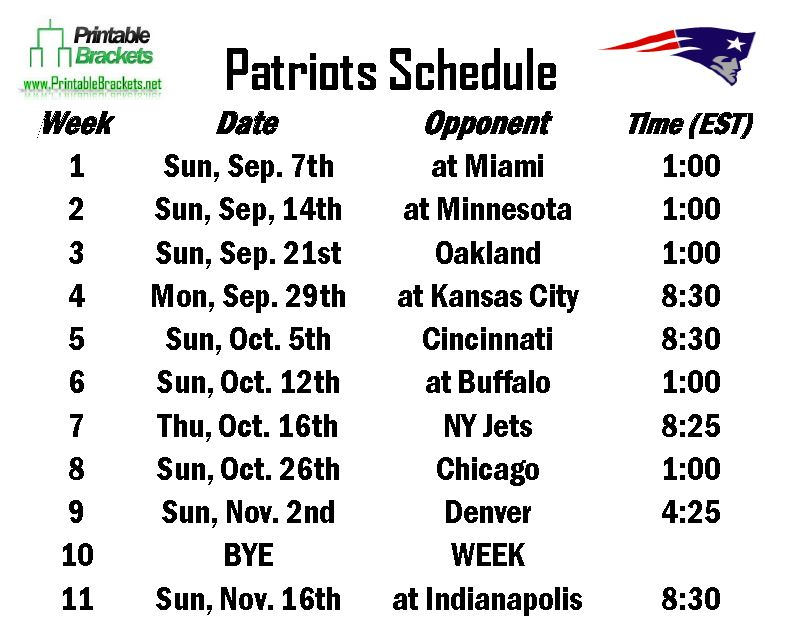 New England Patriots Schedule 2020.New England Patriots Schedule 2020 Printable Schedule 2020