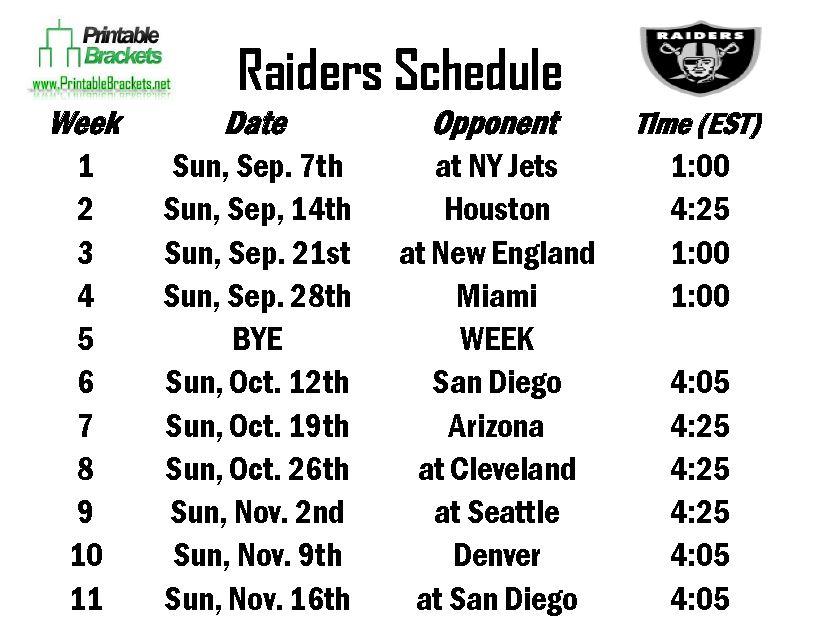 Free Raiders Schedule