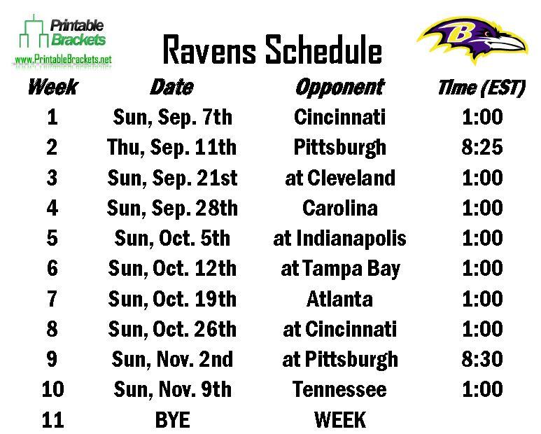 Free Ravens Schedule