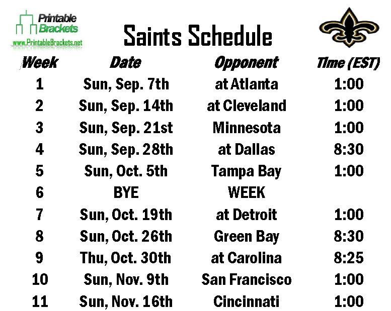 saints schedule