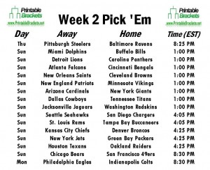 picture relating to Nfl Week 2 Schedule Printable named NFL Decide on Em Specialist Soccer Opt for Em