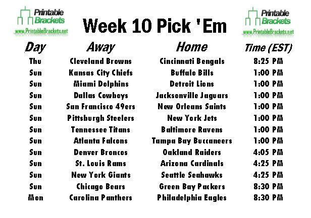 NFL Pick Em Week 10 sheet