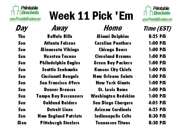 NFL Pick Em Week 11 sheet