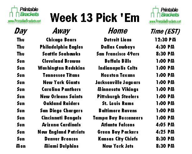 NFL Pick Em Week 13 sheet