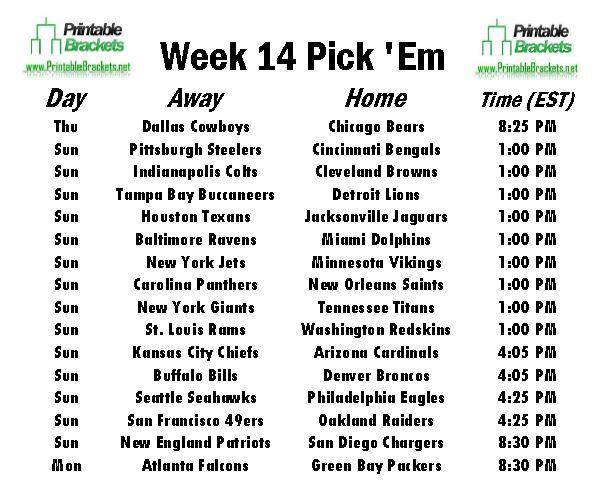 NFL Pick Em Week 14 sheet