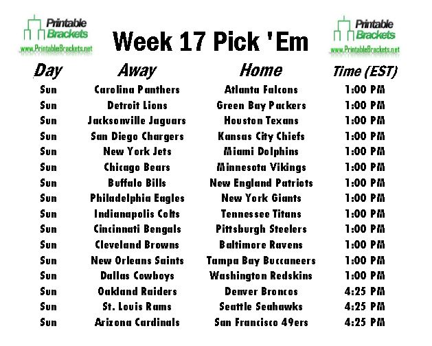 NFL Pick Em Week 17 sheet
