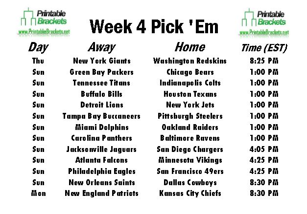 NFL Pick Em Week 4 sheet