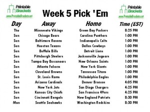 photo about Nfl Week 5 Printable Schedule known as NFL Pick out Em Qualified Soccer Choose Em