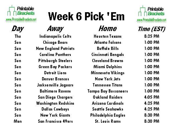 Nfl Pick Em Week 6 Pro Football Pick Em Week 6