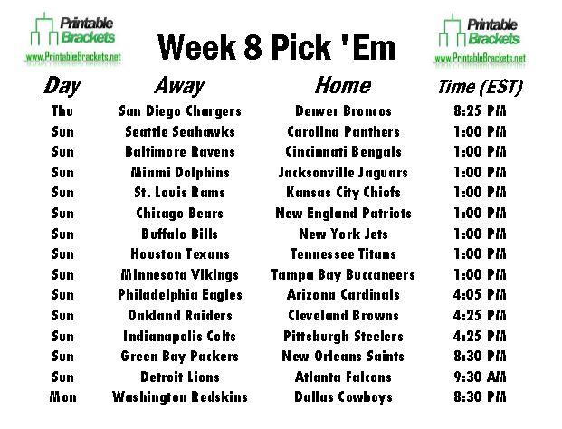 NFL Pick Em Week 8 sheet