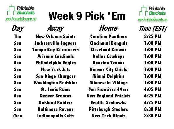 NFL Pick Em Week 9 sheet