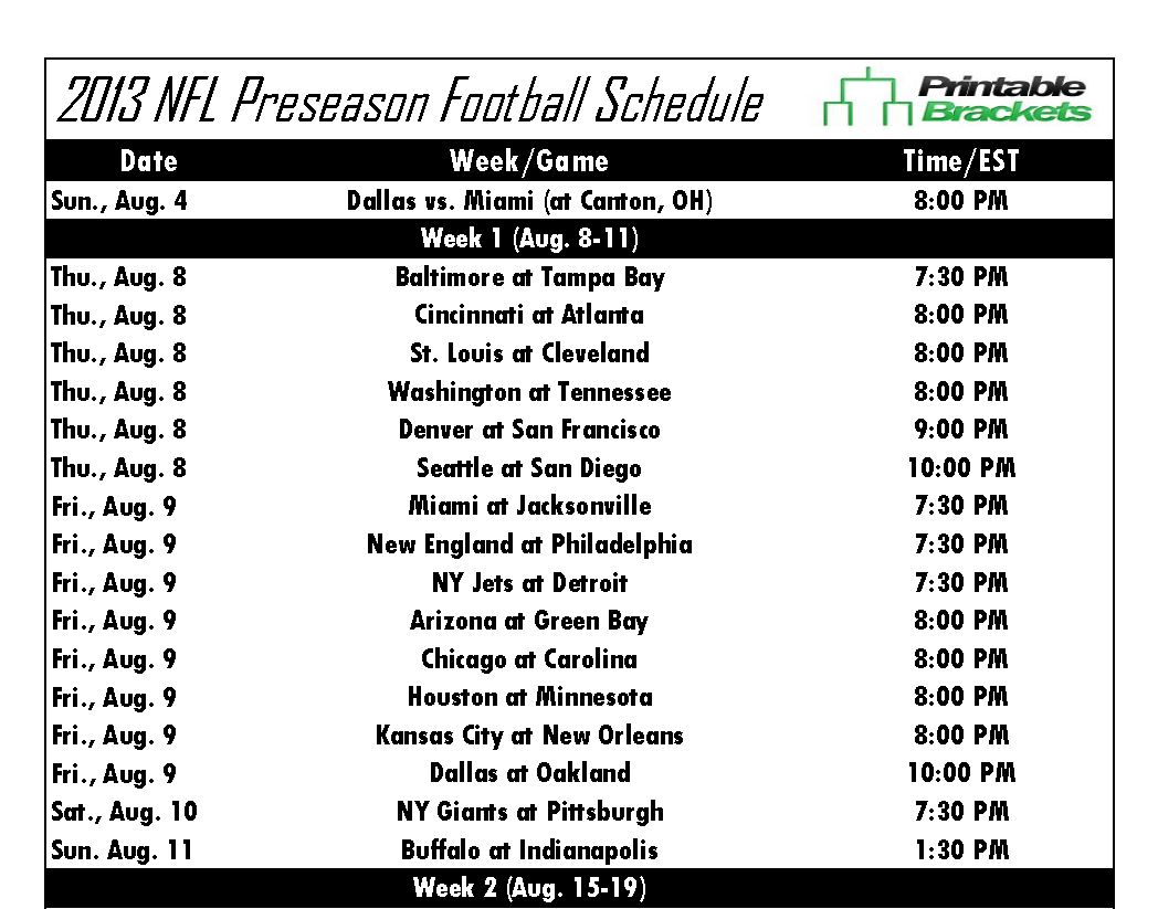Screenshot of the NFL Preseason Schedule