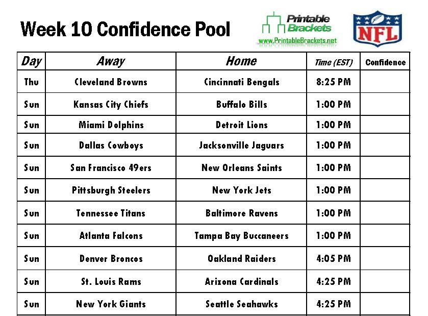 NFL Confidence Pool Week 10 sheet