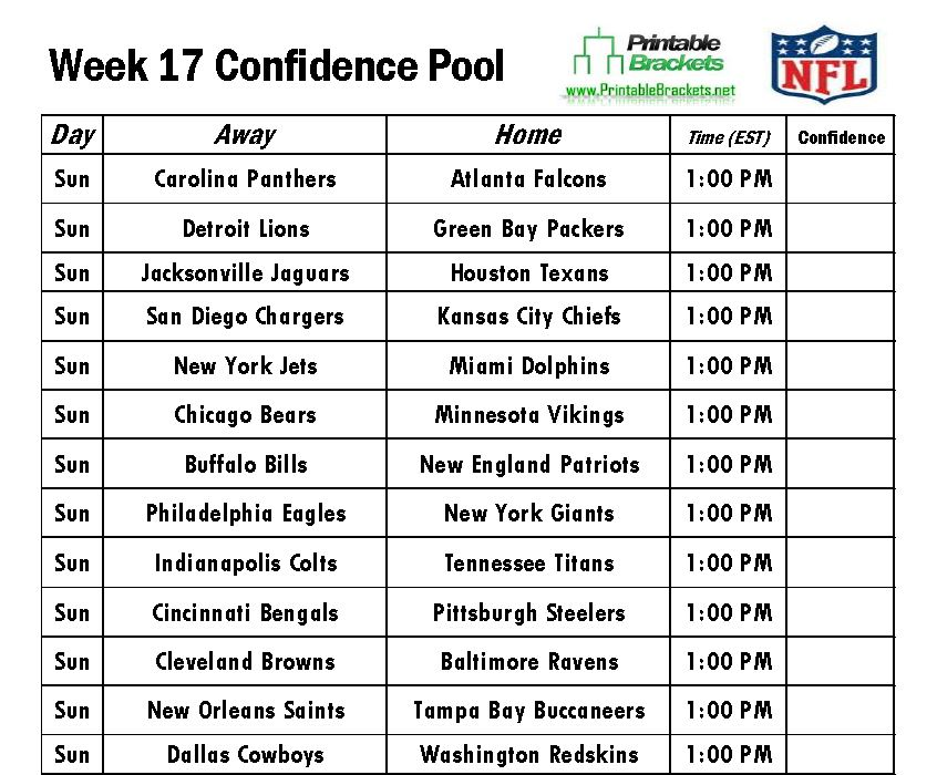 Nifty image pertaining to nfl week 17 printable schedule